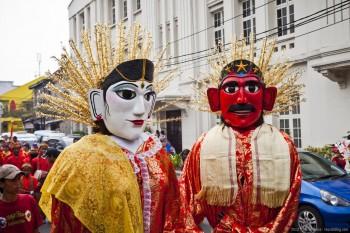 Couple carnaval Jakarta Java Indonesie