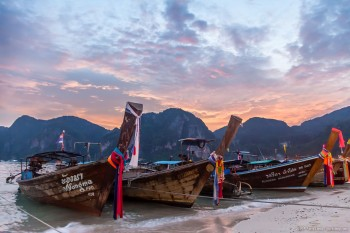 Bateaux Ton Sai Bay Koh Phi Phi Thailande