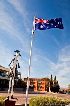 Drapeau australien flottant sur Whyalla