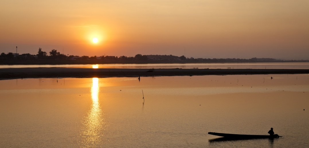 Mekong Coucher Soleil Vientiane Laos