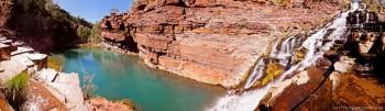 Panoramique Fortescue Falls Karijini National Park WA Australie