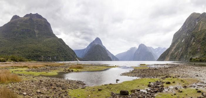 Panoramique de Milford Sound, Nouvelle-Zélande