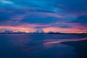 Coucher soleil plage Phra Nang Railey Bay Thailande