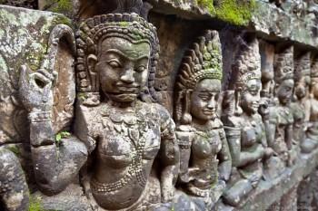 Sculptures Elephant Terrasse Angkor Cambodge