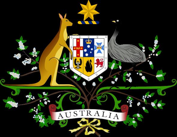 """"""" Coat of arms of Australia """", l'écusson australien, symbole officiel du pays"""